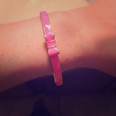 Pink bow bangle Cute oversized bangle. Great for layering! Hot pink Jewelry Bracelets