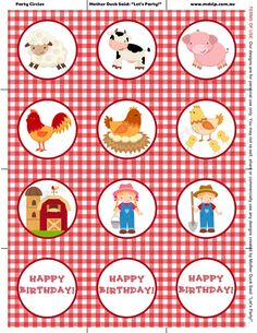 """Barnyard Party Cupcake Toppers / Party Circles Mother Duck Said: """"Lets Par Barnyard Birthday Party Farm Birthday Party Country Birthday Party, Jungle Theme Birthday, Cowboy Birthday, Farm Birthday, 2nd Birthday Parties, Farm Themed Party, Barnyard Party, Farm Party, Farm Animal Party"""