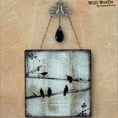 Oiseaux sur un fil à la main verre Wall Decor de page Upcycled dictionnaire livre art - WorDz sauvage - transporteurs du mot no 1