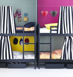 "Bunk beds, like NORDDAL, are a great solution for kids sharing a room.  Let each child express their individuality with textiles, paint, and accessories to make each ""cubby"" their own ""room within a room""."