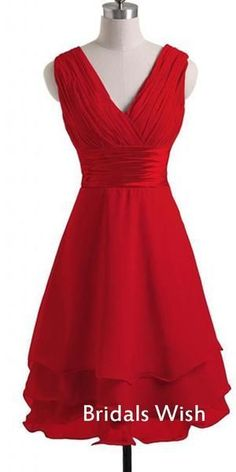Charming Red Chiffon V-neck Sleeveless Short Homecoming Dress – bridalswish Pretty Homecoming Dresses, Strapless Homecoming Dresses, Modest Dresses, Pretty Dresses, Short Dresses, Stylish Dresses, Cocktail Dresses With Sleeves, V Neck Cocktail Dress, Long Formal Gowns