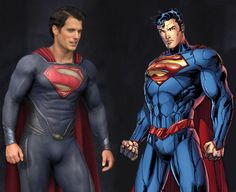 Comparison between the new Man of Steel movie costume and the new Superman costume as of the relaunch in The New 52 for DC Comics