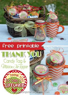 Free Printable Tag or Mason Jar Label - Thank You For Being a Lifesaver #mycomputerismycanvas