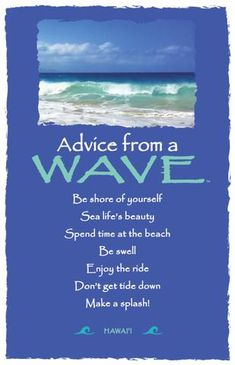 Each postcard says: Advice from a Wave Be shore of yourself Sea life's beauty Spend time at the beach Be swell Enjoy the ride Don't get tide down Make a splash!