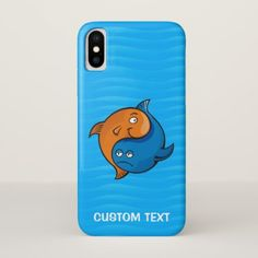 Yin Yang Fish Cartoon iPhone X Case - blue gifts style giftidea diy cyo