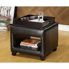 Lorraine Espresso Bicast Leather Brown Wood Finish Flip Top Tray Vanity Ottoman   eBay