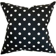 Add a pop of pattern to your sofa, bed, or windowseat with this charming black and white pillow.  Product: PillowConstruction Material: Cotton and down fillColor: Black and whiteFeatures:  Insert includedHidden zipper closureMade in the USA Dimensions: 18 x 18