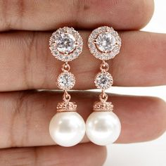 Wedding Pearl Jewelry Bridal Earrings Halo ROSE GOLD Earrings Cubic Zirconia Round White Pearl Earrings Rose Gold Posts Wedding Earrings on Etsy, $38.00  Beautiful !