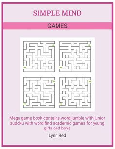 Mega game book contains word jumble with junior sudoku with word find academic games for young girls and boys Classroom Board, Simple Minds, Fun Games For Kids, Mind Games, Board Games, Mindfulness, Words, Funny Games For Kids, Fun Games For Children
