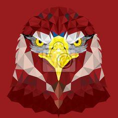 Tableau red eagle with geometric pattern vector • Posters et tableaux sur toile • PIXERS.fr