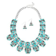 New Tribal Silver Burnished, Turquoise Necklace & Earrings Set