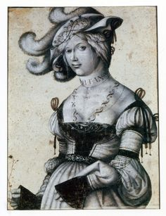 """Halbfigur eines Mädchens"" (Half figure of a girl) by Daniel Hopfer (ca. Renaissance Fashion, Renaissance Clothing, Medieval World, Medieval Fantasy, Luther, German Costume, German Outfit, Landsknecht, German Women"