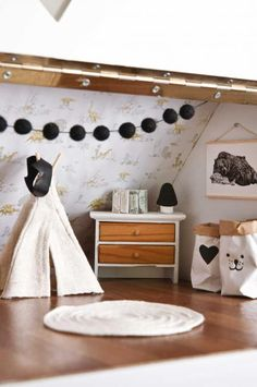Dolls house bedroom by Little Linzi Love the teepee