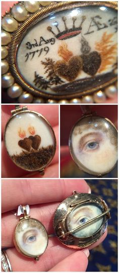Two exquisite antique brooches at Lowther Antiques. They both have flaming hearts on the front and Lover's Eyes on the back. Victorian Jewelry, Antique Jewelry, Vintage Jewelry, Eye Jewelry, Fashion Jewelry, Jewellery, Lovers Eyes, Magical Jewelry, Skeleton Watches