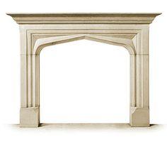 The Stuart -- Tudor/Gothic Arch Stone Fireplace Mantel -- atelier jouvence custom stoneworks