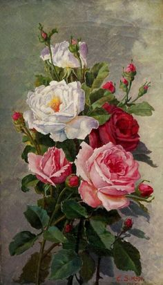 "art-and-things-of-beauty: ""E. oil on canvas, 48 x 28 cm. Vintage Rosen, Vintage Art, Art Floral, Rose Pictures, Oil Painting Flowers, Rose Art, Fractal Art, Beautiful Paintings, Beautiful Roses"