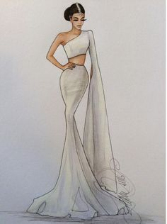 16 New Ideas For Fashion Design Dress Sketches Beautiful Source by fashion design inspiration Dress Design Drawing, Dress Design Sketches, Fashion Design Sketchbook, Fashion Design Drawings, Dress Drawing, Fashion Sketches, Drawing Clothes, Fashion Drawing Dresses, Fashion Illustration Dresses