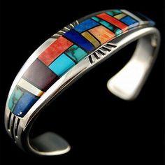 Native Navajo Sterling Silver Turquoise Bracelet Multi Gems Inlay
