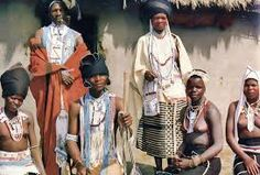 Continental Chrome Postcard Pondo Men and Women in Tribal Dress South Africa