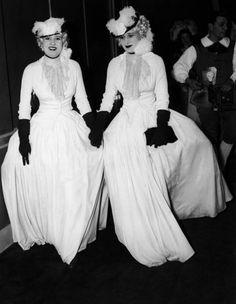 1935- Twin Sisters Thelma and Gloria Morgan, turned Vicountess Thelma Furness and widow of Reginald Vanderbilt Gloria Morgan-Vanderbilt, during the Gala of Fine Arts at the Waldorf-Astoria Hotel.