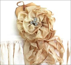 Vintage Vanilla Ribbon Rose, This is a beautiful handmade  ribbon rose pin ~ It has tons of  hand dyed dangling ribbons with  a vintage button ~  The rose measures approximately  4 inches across ~ 18.00 + Ship - http://www.katiesrosecottagedesigns.com