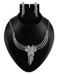 Ftrendy American Diamond Golden Alloy Metal Heavey Necklace Set FIS100D63
