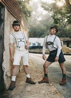 Paul Rudd and Seth Rogen. Wearing lederhosen. Yep