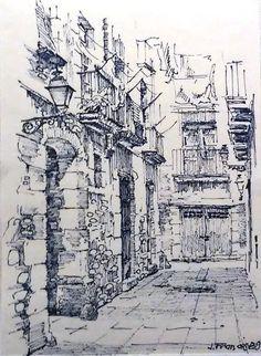 Dibujo tinta | Ink drawing. Joaquim Francés City Sketch, Pen Sketch, Art Sketches, Architecture Concept Drawings, Watercolor Architecture, Ant Drawing, Painting & Drawing, Banksy Graffiti, Building Drawing