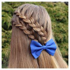 """270 Me gusta, 22 comentarios - Hairstyles & Braids (@prettyhairstyleess) en Instagram: """"Two Ladder Braids with a bow!  #prettyhairstyleess"""""""