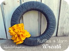 Ruffles and Yarn Fall Wreath- a quick way to dress up any home or front door! SixSistersStuff.com #DIY #tutorial #wreath