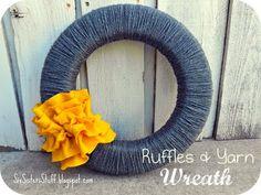 Ruffles and Yarn Fall Wreath #DIYcraft #Tutorial