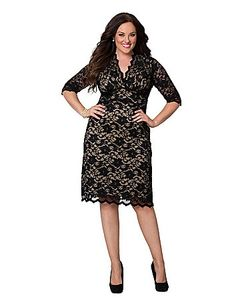 Scalloped boudoir dress by Kiyonna is a feminine showpiece in sexy stretch lace with contrast lining. The vintage-inspired silhouette creates and defines hourglass curves with a surplice neckline, fitted waist and slightly flared skirt. Sheer 3/4 sleeves and scalloped trim add a romantic finish. lanebryant.com