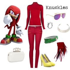 Knuckles the Echidna by starwaveimpulse on Polyvore featuring Plein Sud Jeanius, Fab., LUSASUL, DANNIJO, Taiana Design, Mosley Tribes, videogames, knuckles, sonic and scarf