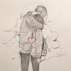 Image may contain: drawing Cute Couple Drawings, Couple Sketch, Art Drawings Sketches Simple, Cute Couple Art, Anime Couples Drawings, Pencil Art Drawings, Love Drawings, Romantic Drawing, Anime Love