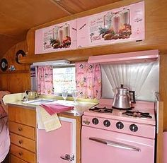 Vintage Decorated Campers | Pink interior, Vintage camper trailer caravan | Camping