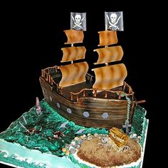 White and Gold Wedding. Groom and Groomsmen. Pirate Ship Wedding Cake. I'm not gonna get this crazy but I love this work! Talent!!