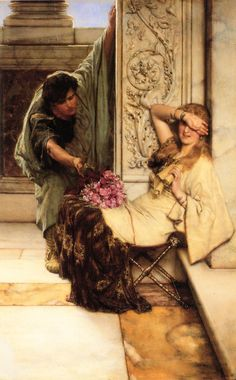 Shy, Alma-Tadema -- Excellent Study of Roman Sculptural foliage (acanthus) on the pilaster behind the woman's right arm.