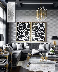 Gold and Black Living Room Ideas. Gold and Black Living Room Ideas. Gold and Grey Modern Masculine Glamour Living Room by Black And Gold Living Room, Living Room Grey, Living Room Interior, Living Rooms, Gold Grey Bedroom, Living Room Decor Gold, Black Living Room Furniture, Glamour Living Room, Art Deco Living Room