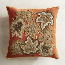 Gilded & Beaded Leaves Rust Pillow $39.95 @ Pier 1
