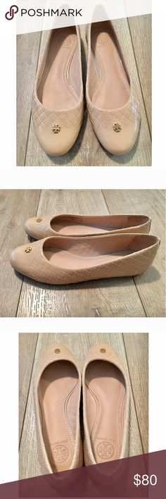 Tori Burch leather quilted ballet flats nude Basic must haves!✨ near new ✨quilted upper with delicate gold logo on toe. Color nude Tory Burch Shoes Flats & Loafers