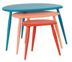 Ercol's anniversary tri-colour nest of tables Nesting Tables, Retro Table, Table, Modern Retro, Woodworking Projects, Mid Century Modern Furniture, Painted Furniture, Ercol, Painted Nesting Tables