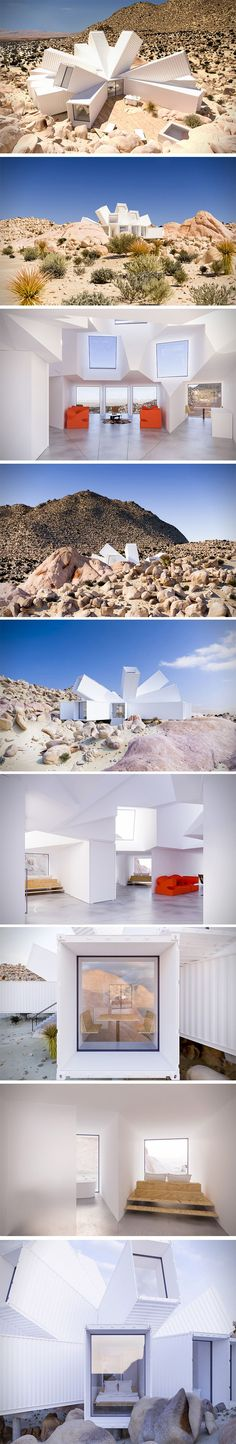 This Joshua Tree Residence is a true thing of beauty – breaking out from its core and exploding in all directions. The exterior reaches out like branches of a tree, soaking up every ray of light the day will give. The interior design of this Joshua Tree Residence is given a wide envelope with giant sculpted ceilings – eluding the reality that the house is in fact a construction of McLean's transport containers.