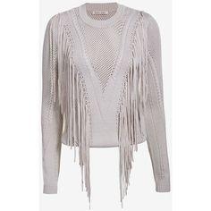 Ronny Kobo Saskia Fringe Sweater ($249) ❤ liked on Polyvore featuring tops, sweaters, grey, crew sweater, crewneck sweaters, grey long sleeve sweater, gray crew neck sweater and gray sweater