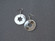 Mirror earrings mirror acrylic earrings star by elfinadesign