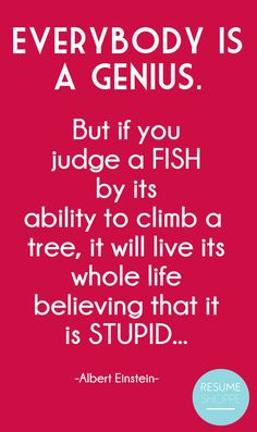 """Albert Einstein wrote, """"Everybody is a genius. But if you judge a fish by its ability to climb a tree, it will live its whole life believing that it is stupid."""
