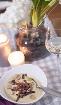 Maronen-Sellerie-Suppe mit Speckdatteln