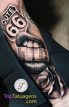 Hustle Money Tattoo - Awesome Money Talks Tattoo – Best Money Tattoos For Men: Cool Money Tattoo Designs and Ideas For - Chicano Tattoos Sleeve, Forarm Tattoos, Arm Sleeve Tattoos, Dope Tattoos, Tattoo Sleeve Designs, Arm Tattoos For Guys, Forearm Tattoo Men, Leg Tattoos, Body Art Tattoos