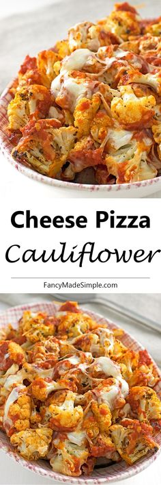 Less work than making cauliflower crust. This LOW CARB cheese pizza cauliflower is unbelievably amazing. It's so fast and easy to make. Your family will have this gobbled up before it even hits the table! Side Dish Recipes, Vegetable Recipes, Low Carb Recipes, Diet Recipes, Vegetarian Recipes, Cooking Recipes, Healthy Recipes, Recipies, Cauliflower Recipes