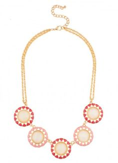 Solar Dial Stone Strand Necklace Peach/Coral - Necklaces - Jewelry ($16.99)