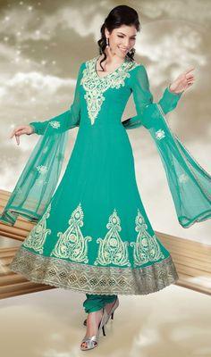 Sea Green Embroidered Chiffon Anarkali Suit